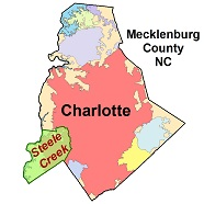 Map of Steele Creek in Mecklenburg County